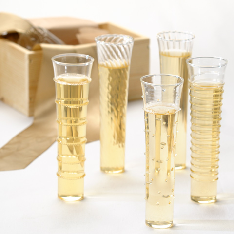 Wednesday wedding wonders olive cocoa a realistic wedding - Funky champagne flutes ...